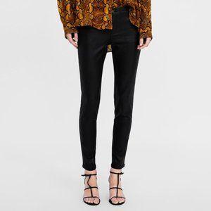 Zara Black Coated Denim Skinny Jeans